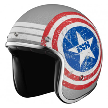 Obrázek z iXS HX 89 AMERICAN 2 motocyklová helma s červeno-modrou grafikou matná, stříbrno-bílá